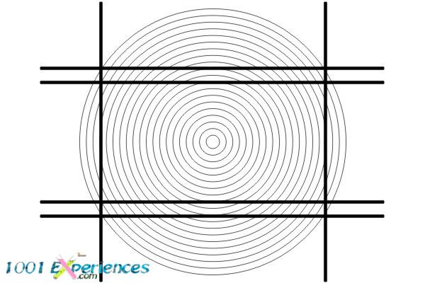 Illusion d'optique géométrique de droites et cercles