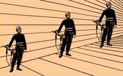 Illusion d'optique artistique de soldats