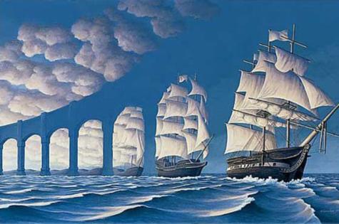 Illusion d'optique artistique d'un viaduc ou bateau