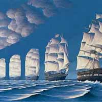 Illusion d'optique artistique - Viaduc ou bateau à voile?
