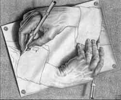 Illusion d'optique artistique - mains qui dessinent
