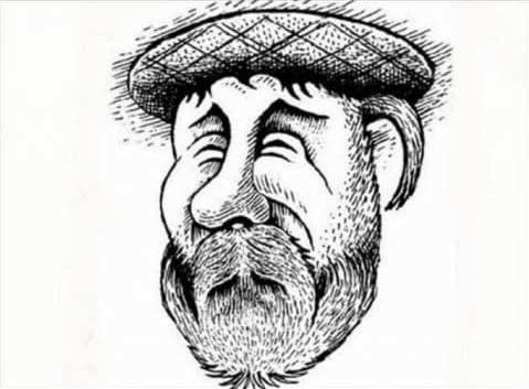 Illusion d'optique artistique d'un homme barbu portant un béret