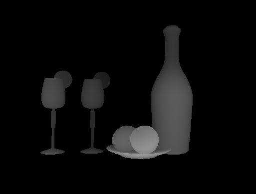 Image 3D d'une bouteille, verres et citrons